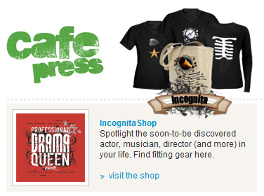 IncognitaShop featured on the front page of CafePress
