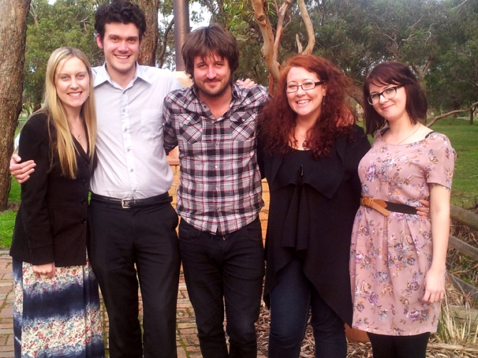L-R: Laura Coates, Andrew Wigglesworth, Lachlan Bryan, Sally McLean and Kelly Gentle at Hickinbotham Winery, Dromana - July 22, 2012